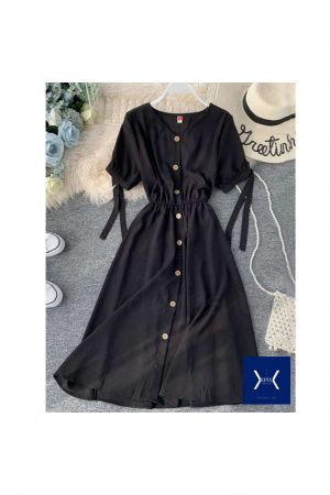 Black Front Opened Dress