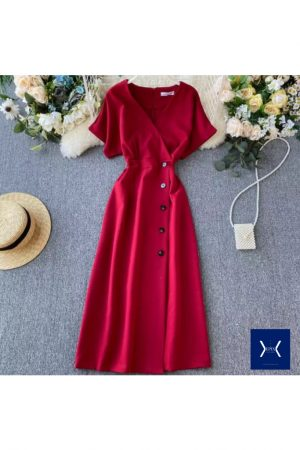 Red Front Open Maxi Dress